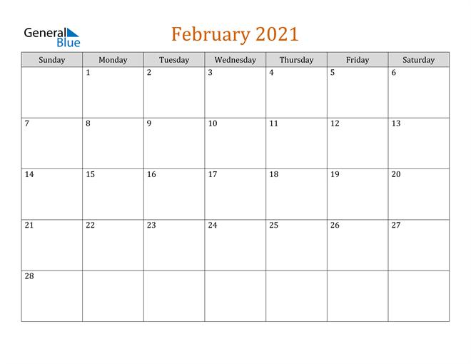 February 2021 Contemporary Orange PDF, Word and Excel Calendar