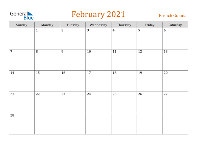 Image of February 2021 Contemporary Orange PDF, Word and Excel Calendar Calendar