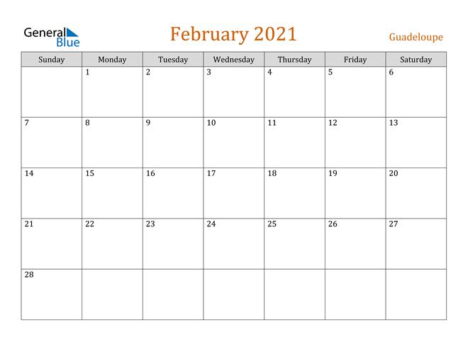 Image of February 2021 Contemporary Orange PDF, Word and Excel Calendar Calendar