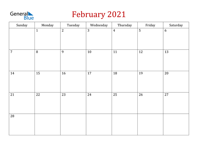 February 2021 Dark and Red Professional Office Calendar