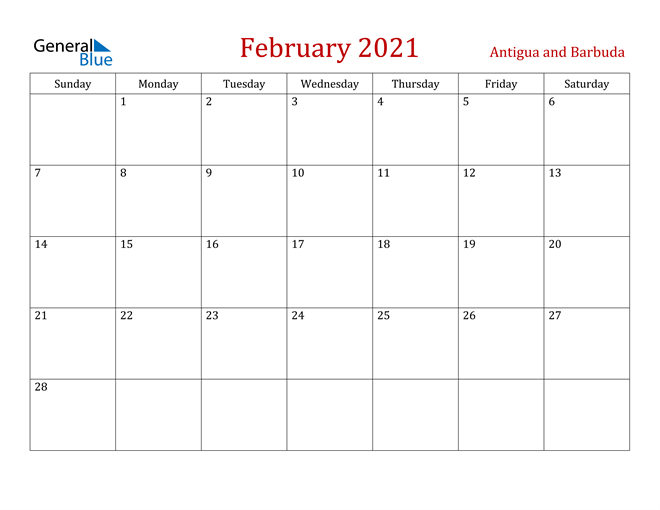 Image of February 2021 Dark and Red Professional Office Calendar Calendar