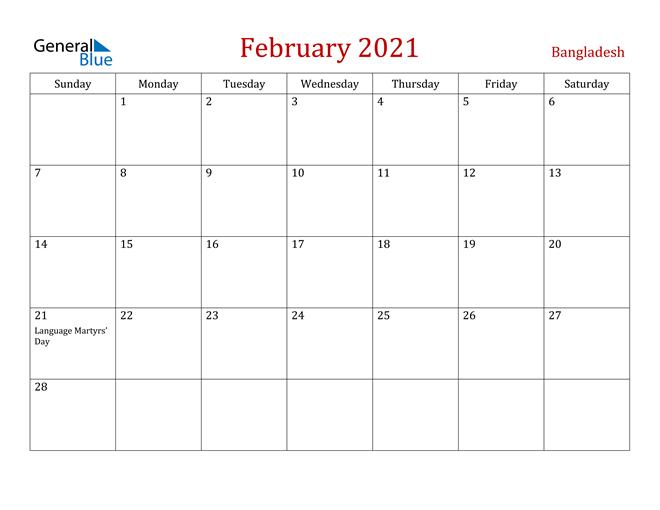 Bangladesh February 2021 Calendar