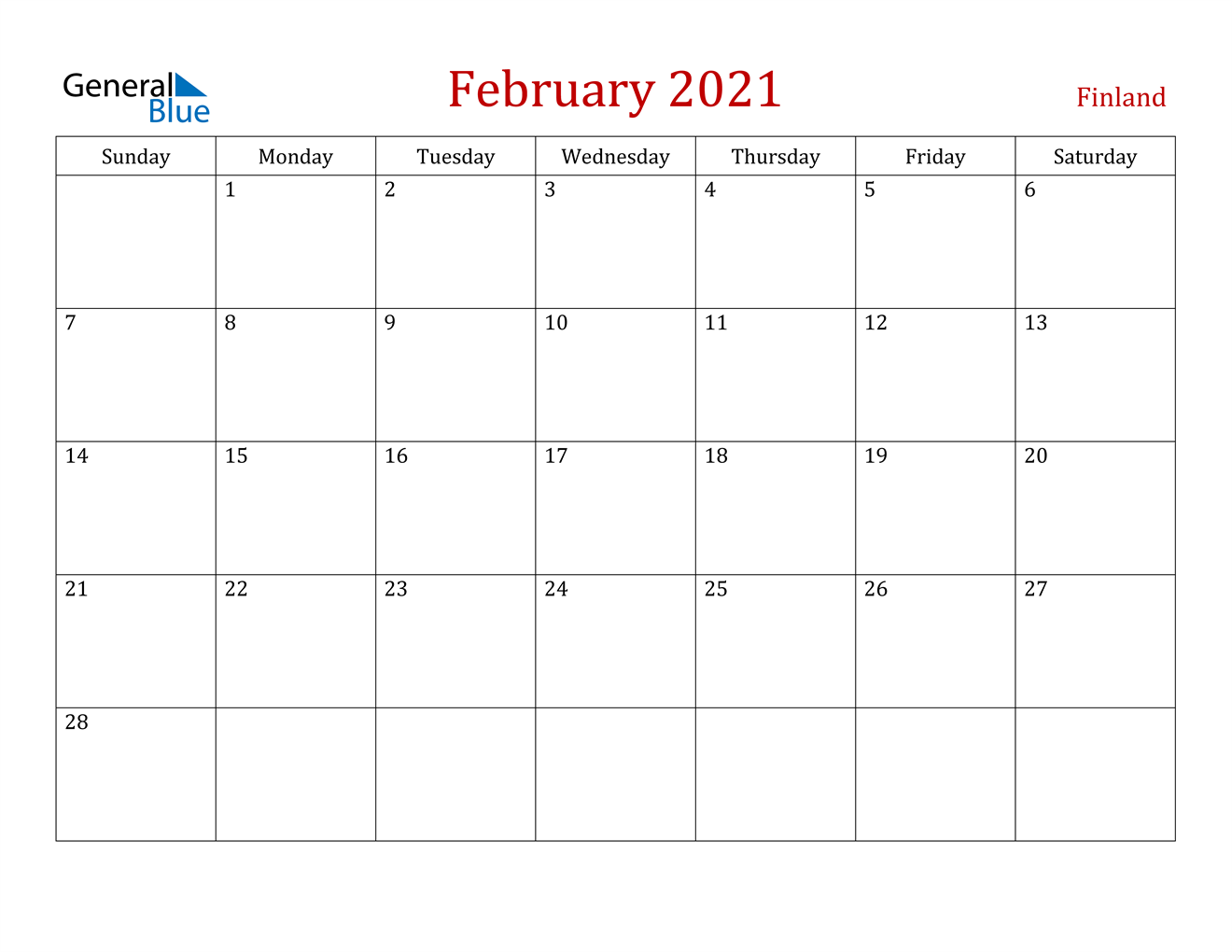 February 2021 Calendar - Finland