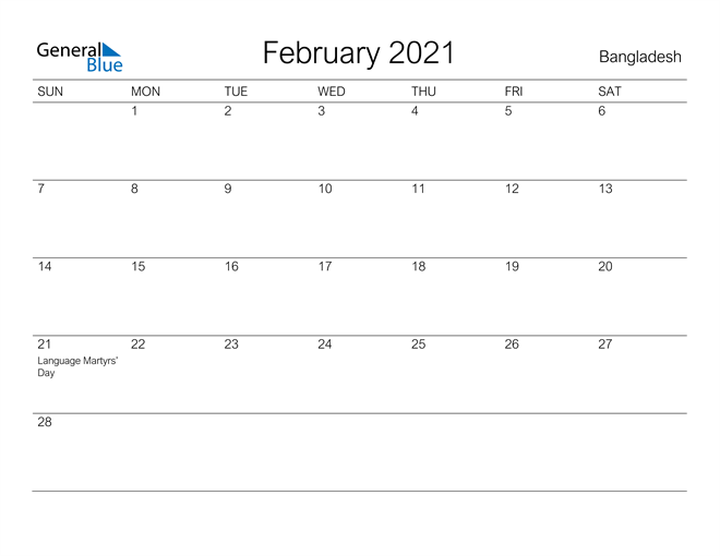 Printable February 2021 Calendar for Bangladesh