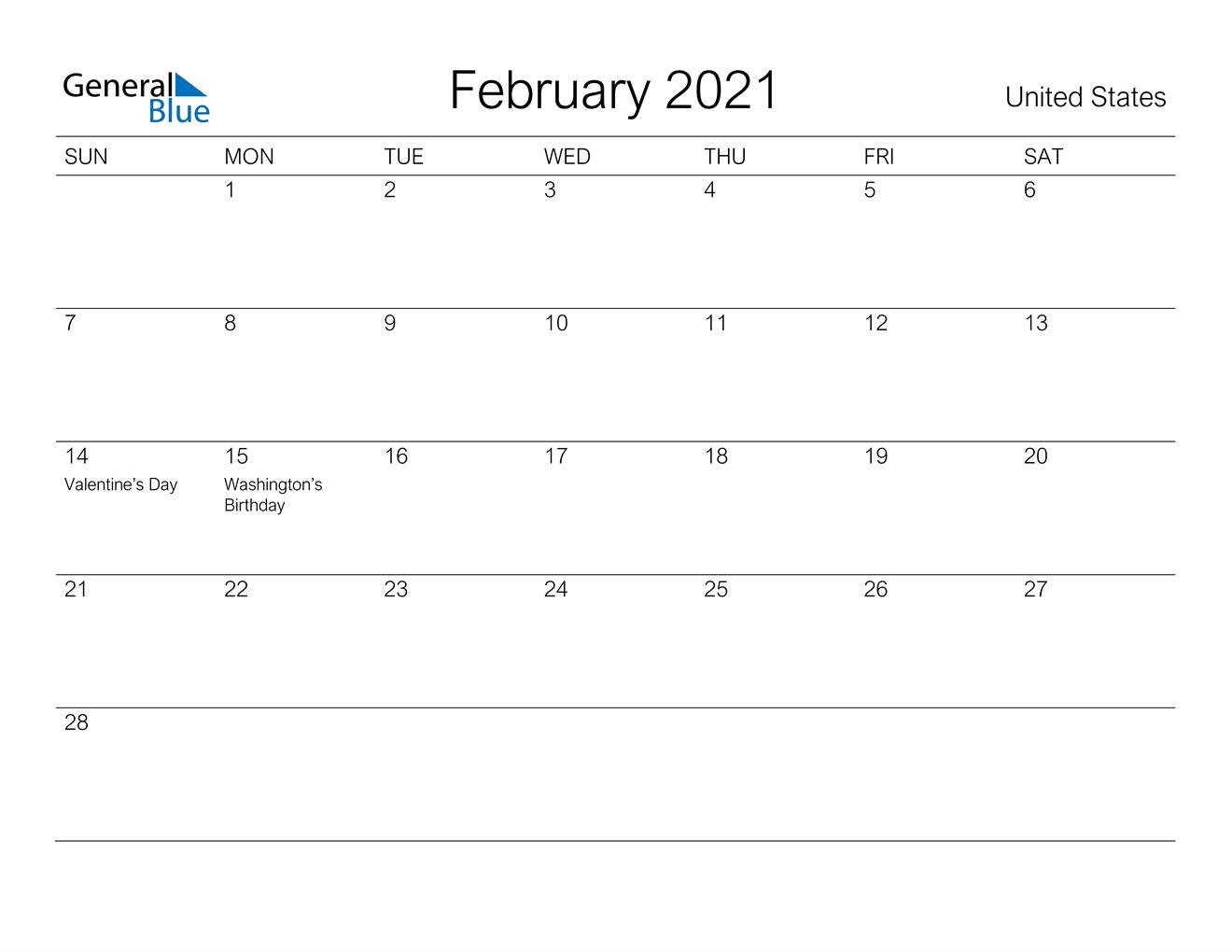 February 2021 Calendar - United States