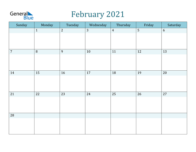 February 2021 Colorful Turquoise Calendar in PDF, Word and Excel