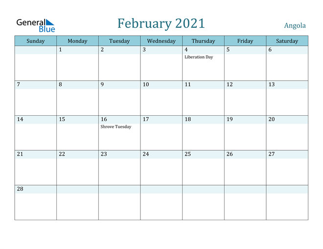 Image of February 2021 Colorful Turquoise Calendar in PDF, Word and Excel Calendar