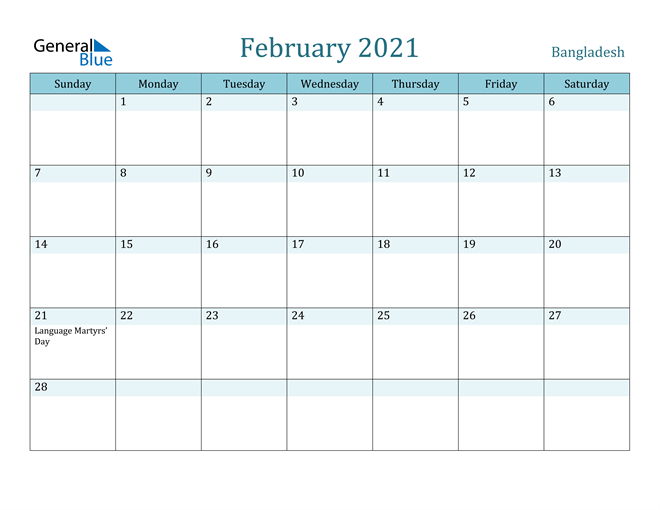 February 2021 Calendar with Holidays in PDF, Word, and Excel