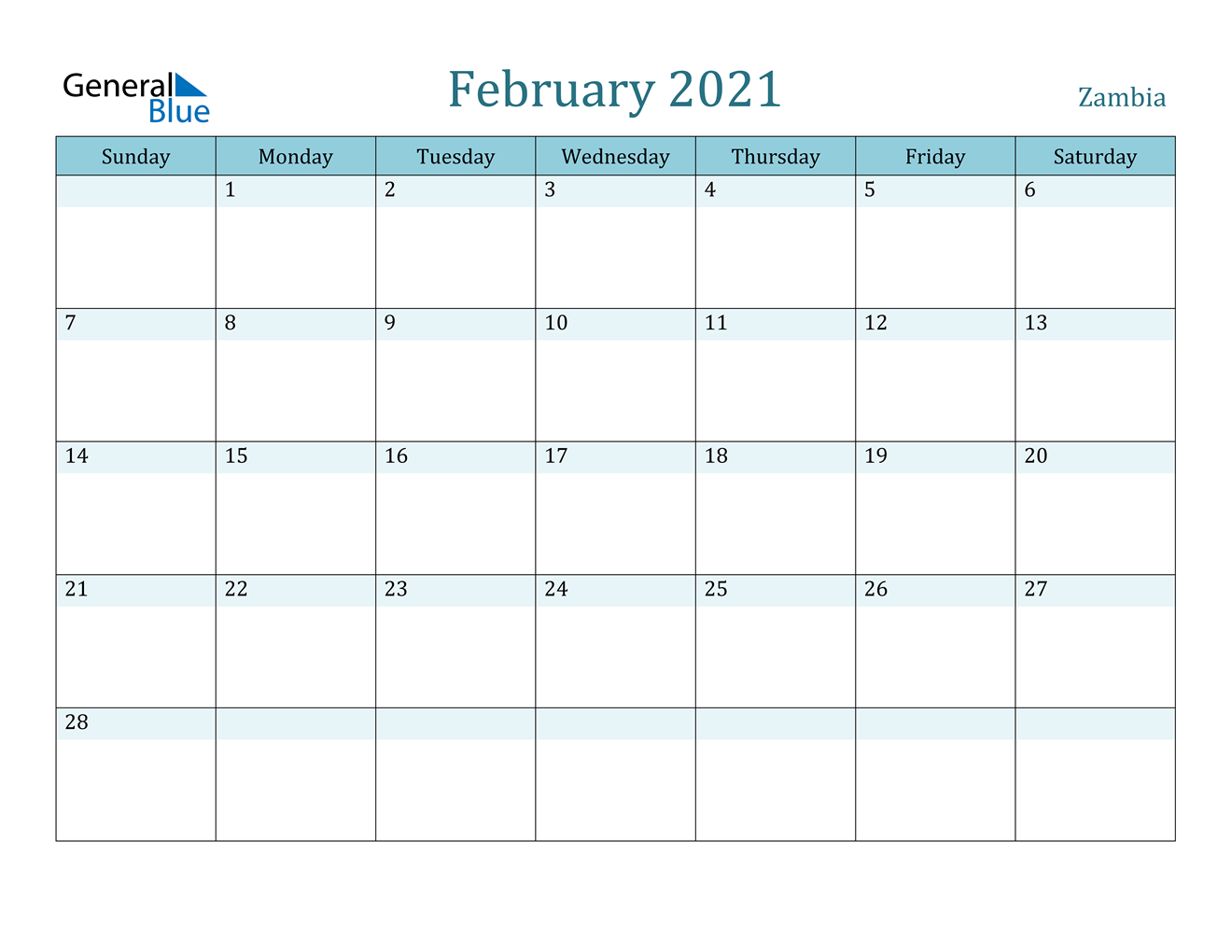 Zambia February 2021 Calendar with Holidays