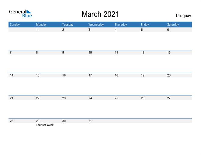 Fillable March 2021 Calendar