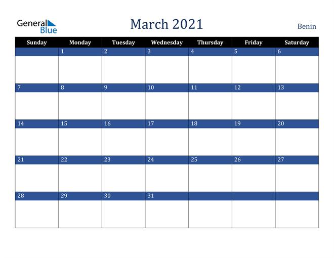 Image of March 2021 Stylish Dark Blue Calendar in PDF, Word and Excel Calendar