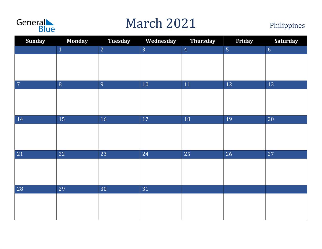 March 2021 Calendar - Philippines