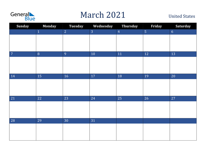Image of March 2021 Stylish Dark Blue Calendar in PDF, Word and Excel Calendar
