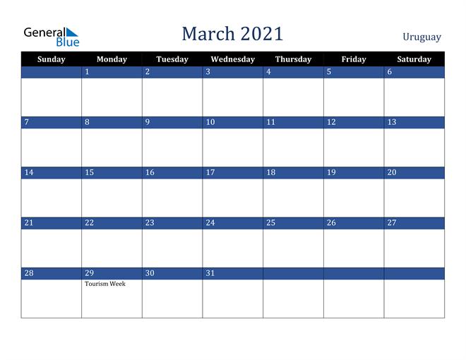 March 2021 Uruguay Calendar