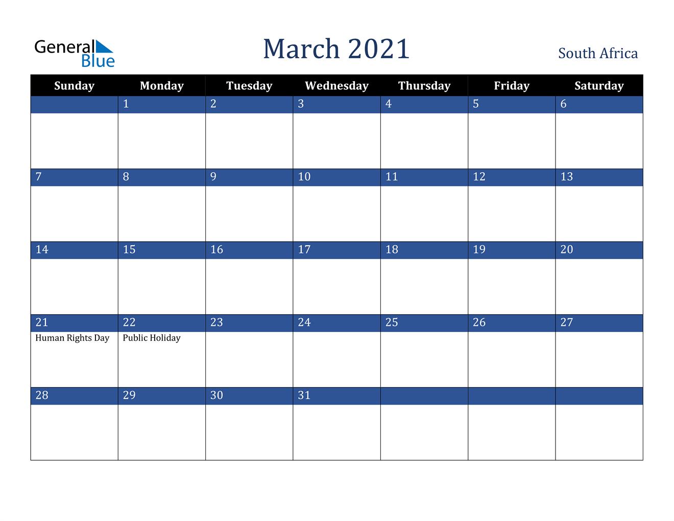 March 2021 Calendar - South Africa