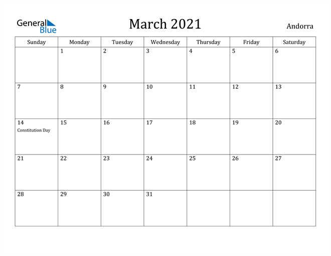 Image of March 2021 Andorra Calendar with Holidays Calendar