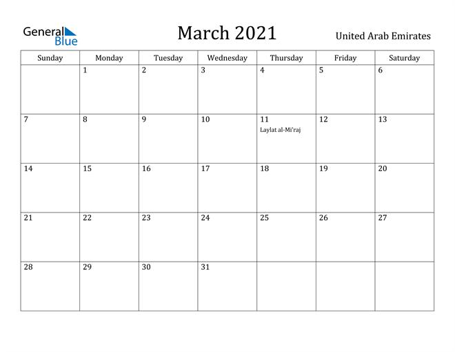 Image of March 2021 United Arab Emirates Calendar with Holidays Calendar