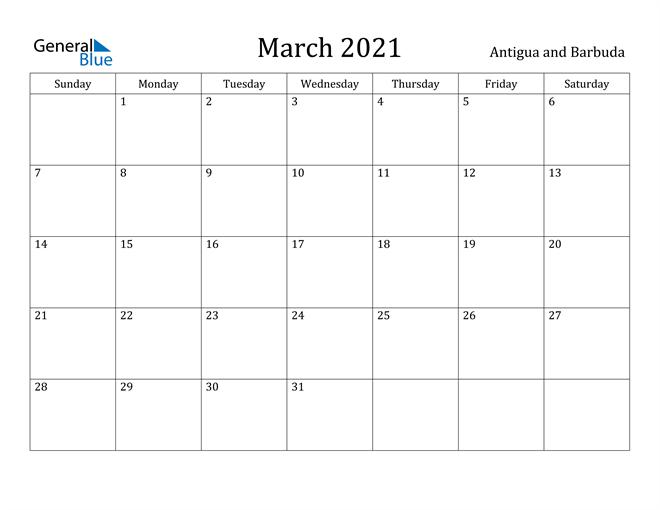 Image of March 2021 Antigua and Barbuda Calendar with Holidays Calendar