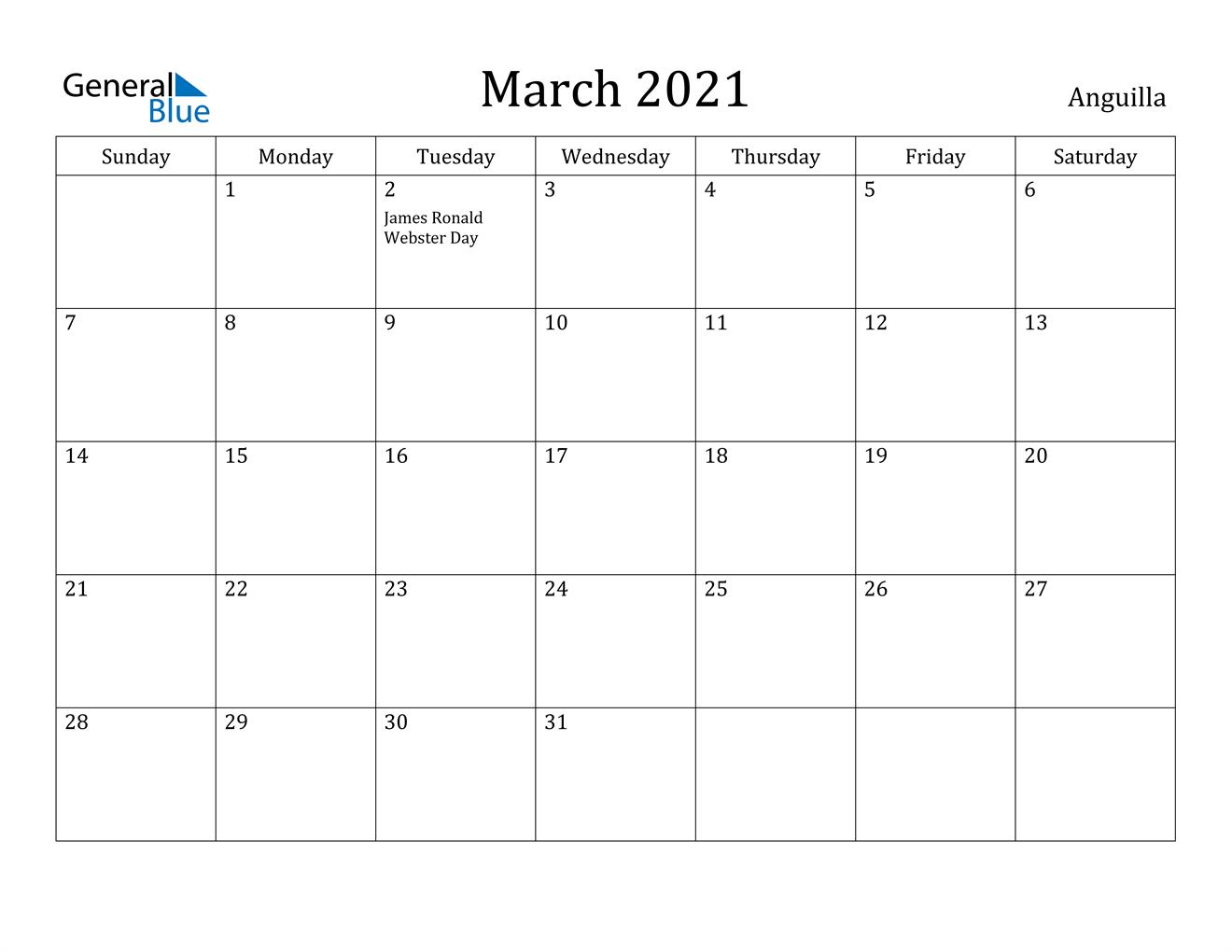 March 2021 Calendar - Anguilla