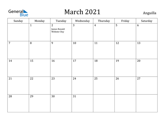 Image of March 2021 Anguilla Calendar with Holidays Calendar