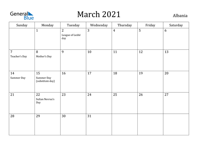 Image of March 2021 Albania Calendar with Holidays Calendar