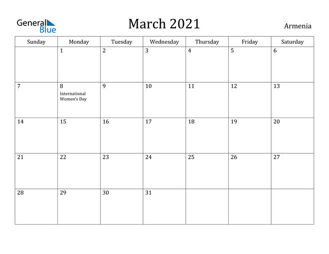 Image of March 2021 Armenia Calendar with Holidays Calendar
