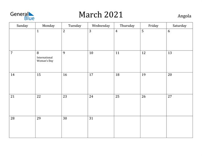 Image of March 2021 Angola Calendar with Holidays Calendar