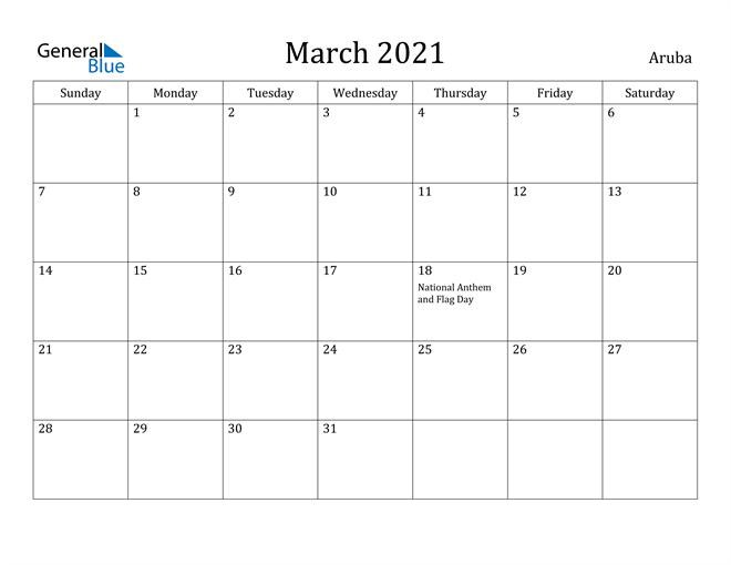 Image of March 2021 Aruba Calendar with Holidays Calendar