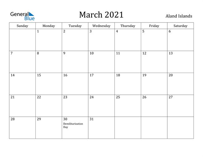 Image of March 2021 Aland Islands Calendar with Holidays Calendar