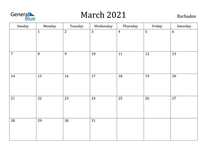 Image of March 2021 Barbados Calendar with Holidays Calendar