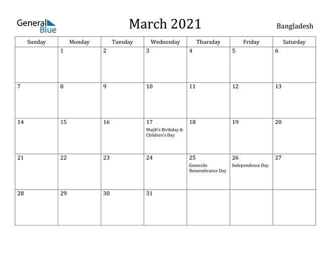 Image of March 2021 Bangladesh Calendar with Holidays Calendar