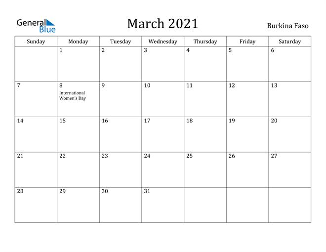 Image of March 2021 Burkina Faso Calendar with Holidays Calendar