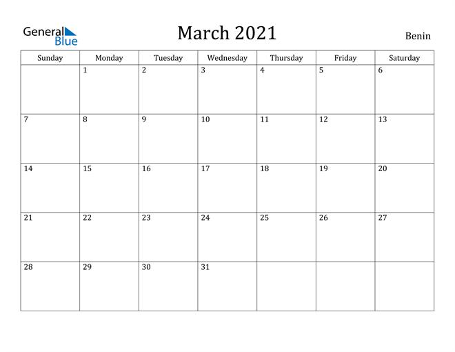 Image of March 2021 Benin Calendar with Holidays Calendar