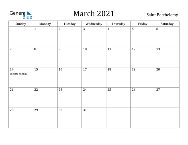 Image of March 2021 Saint Barthelemy Calendar with Holidays Calendar
