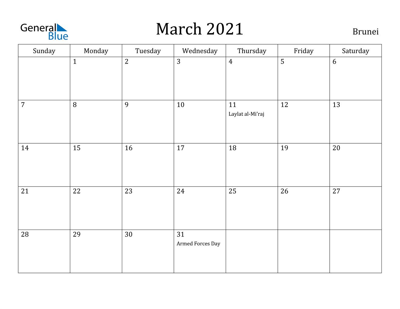 March 2021 Calendar - Brunei
