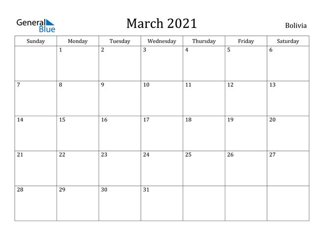 Image of March 2021 Bolivia Calendar with Holidays Calendar