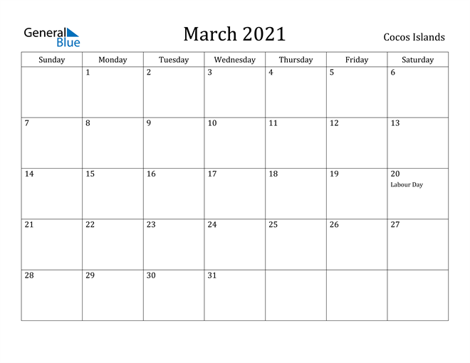 Image of March 2021 Cocos Islands Calendar with Holidays Calendar