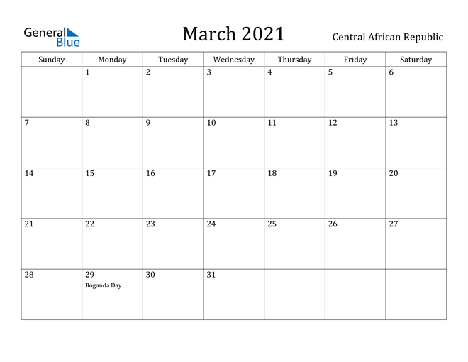 Image of March 2021 Central African Republic Calendar with Holidays Calendar