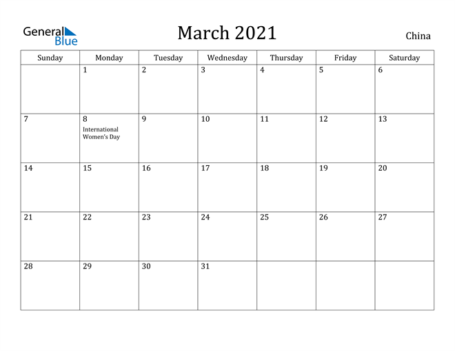 Image of March 2021 China Calendar with Holidays Calendar