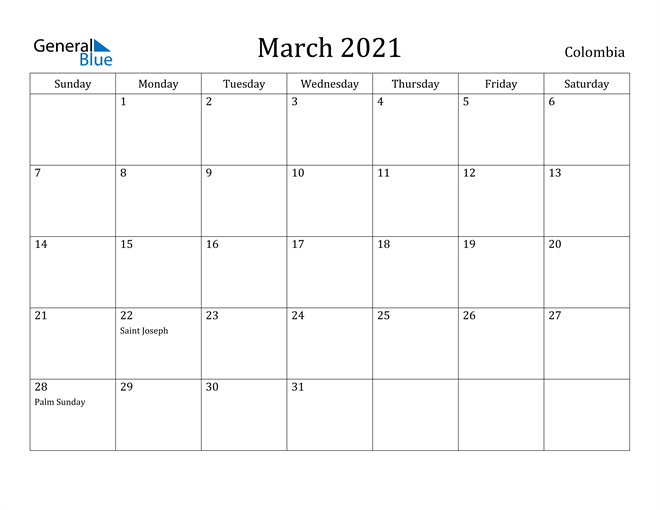 Image of March 2021 Colombia Calendar with Holidays Calendar