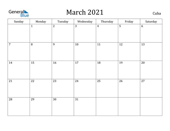 Image of March 2021 Cuba Calendar with Holidays Calendar