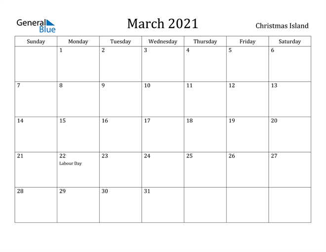 Image of March 2021 Christmas Island Calendar with Holidays Calendar