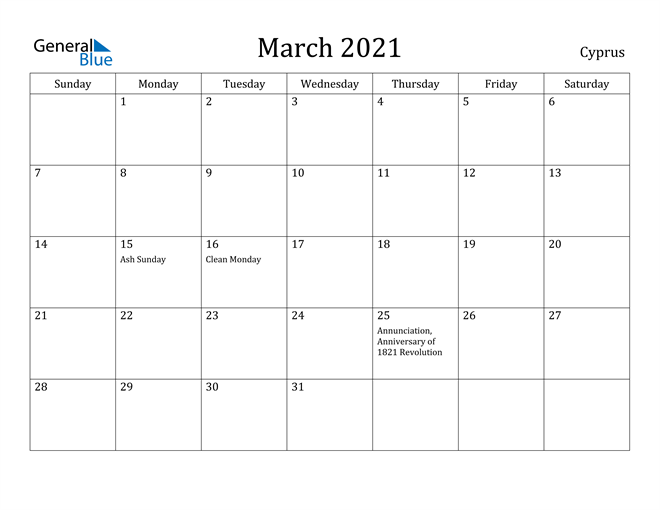 Image of March 2021 Cyprus Calendar with Holidays Calendar