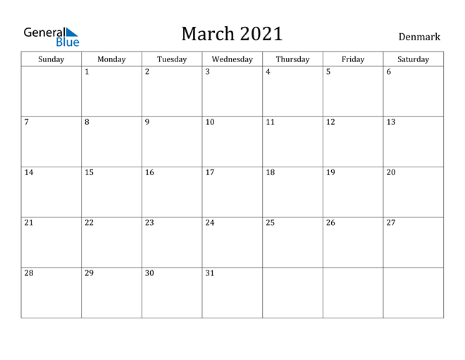 Image of March 2021 Denmark Calendar with Holidays Calendar