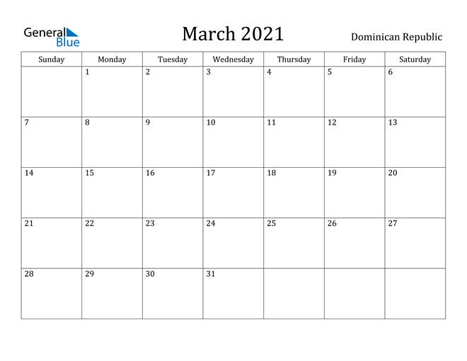 Image of March 2021 Dominican Republic Calendar with Holidays Calendar