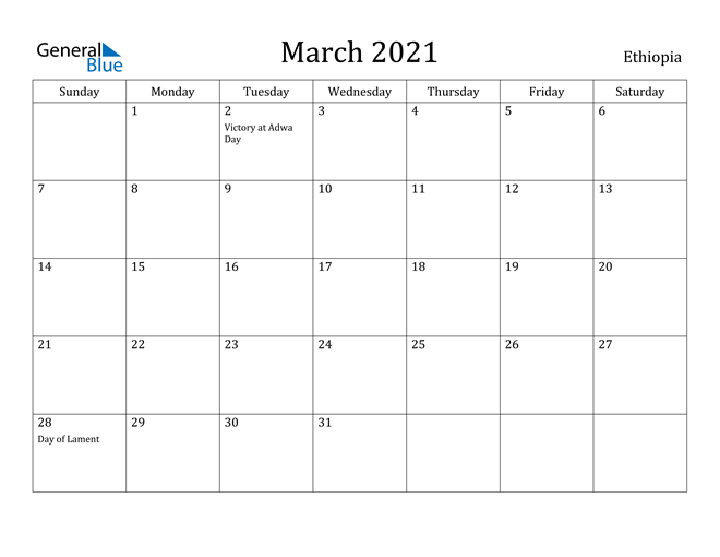 Image of March 2021 Ethiopia Calendar with Holidays Calendar