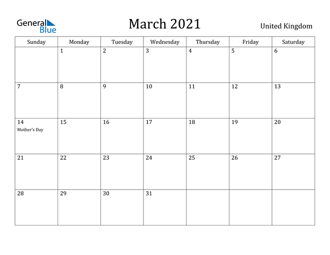 Image of March 2021 United Kingdom Calendar with Holidays Calendar