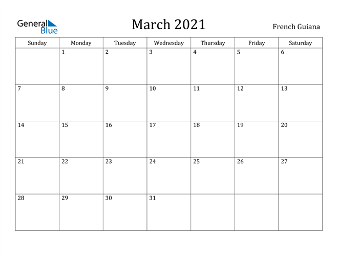 Image of March 2021 French Guiana Calendar with Holidays Calendar