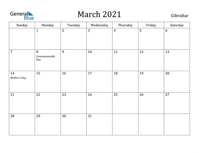 Image of March 2021 Gibraltar Calendar with Holidays Calendar