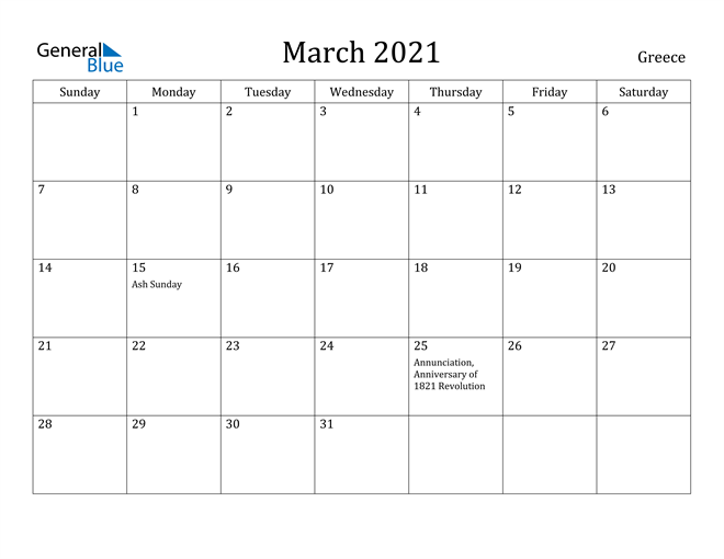Image of March 2021 Greece Calendar with Holidays Calendar